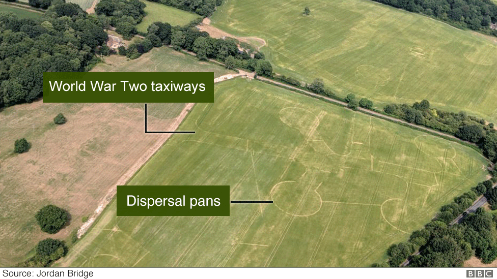 Picture showing Lasham airfield taxiways and dispersal pans.