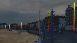 An artists's impression of how the seafront lights will look