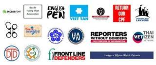 17 tổ chức trong nước và quốc tế ký tên trong lá thư yêu cầu các lãnh đạo quốc tế tham gia APEC gây áp lực lên Việt Nam về tình trạng vi phạm nhân quyền