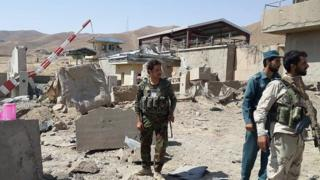 Afghan security forces at scene of blast in Puli Alam, Logar province. 6 Aug 2015