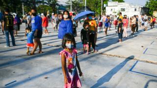 Socially distanced queue in Bangkok, Thailand