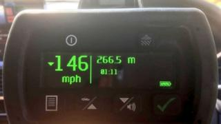 A Norfolk Police speedometer showing someone was clocked at 146mph
