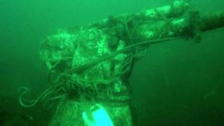 88mm deck gun from the First World War German UC-70 mine-laying submarine
