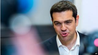 Greek Prime Minister Alexis Tsipras speaks during a media conference at an EU summit in Brussels on Monday, 22 June