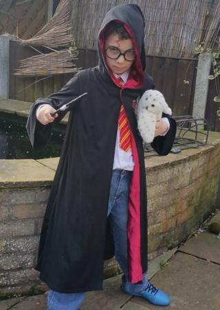 Here's Oliver, from Clacton-on-Sea, as the famous boy wizard Harry Potter