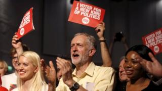 Jeremy Corbyn at leadership campaign rally