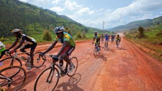Cyclists in action during the 2009 Tour of Rwanda