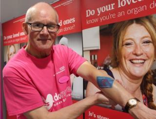 Paul Dixon and his organ donor card tattoo