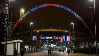 Wembley Arch lit up