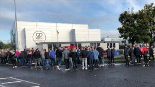 Protesters outside Green Pastures Church in Ballymena