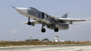 A Russian SU-24M jet fighter takes off from an airbase Hmeimim in Syria