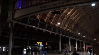 Paddington Station partly in darkness