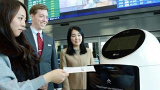 Robot guía en el Aeropuerto Internacional de Incheon, Corea del Sur