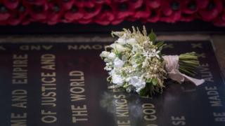 Duchess of Sussex's bouquet on the tomb of the unknown warrior
