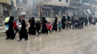 People fleeing violence in Aleppo