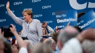 Angela Merkel at an election campaign event