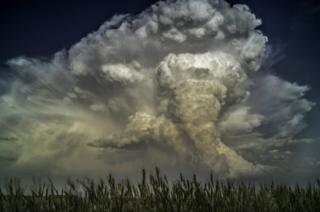 A tornado fills the sky