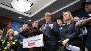 Democratic Senators Schumer (centre) and Kirsten Gillibrand (right) join 9/11 first responders after the passage of the new bill in Washington DC. Photo: 23 July 2019