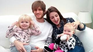 Greg Gilbert, Stacey Heale and their daughters Dali aged three and Bay aged one
