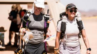 Sophies Raworth with Susie Chain as they prepare to run the Marathon des Sables