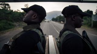 Soldiers of the 21st Motorized Infantry Brigade patrol in the streets of Buea, South-West Region of Cameroon on April 26, 2018. A social crisis that began in November 2016 has turned into armed conflict since October 2017
