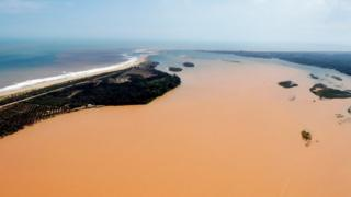 Aerial view of the Rio Doce estuary in Brazil