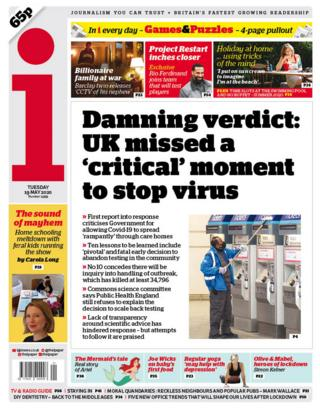 The i front page 19/05/20