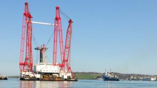 The SeaGen Project Marine Current Turbines pictured placing the Turbine in Strangford Lough