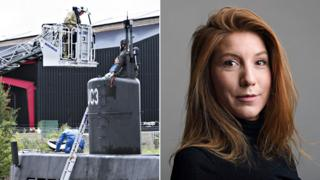 A composite showing the submarine Nautilus and missing reporter Kim Wall