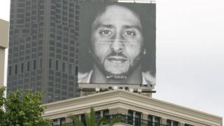 Billboard with Colin advertising Nike in San Francisco, USA.