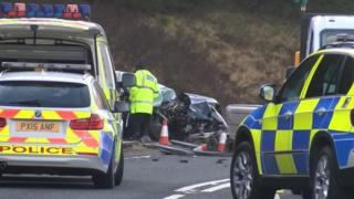 Scene of A6 crash