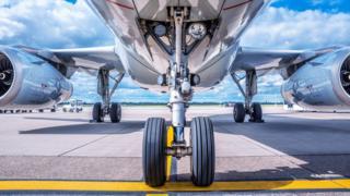 Plane landing gear.