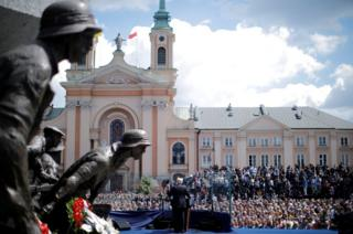 US. President Donald Trump gives a public speech in front of the Warsaw Uprising Monument at Krasinski Square