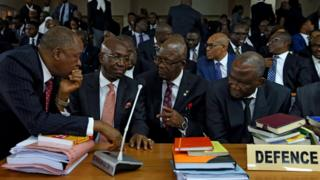 The lawyers of Nigerian Supreme Judge Walter Onnoghen are pictured on the Code of Conduct Tribunal in Abuja