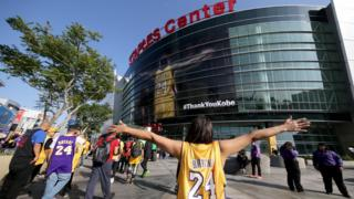 Fan wearing Kobe Bryant's famous 24 shirt.