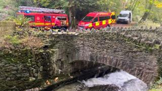 Fire service vehicles on the scene in Laxey