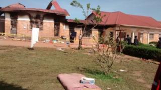 Scene of a dormitory fire at a school in Rakai, southern Uganda, 13 November 2018