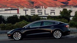 First production model of Tesla Model 3 out of the assembly line in Fremont, California , US is seen in this undated handout photo from Tesla Motors obtained by Reuters July 10, 2017.