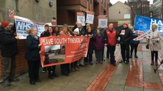 Save South Tyneside Hospital protest outside Leeds High Court