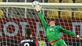 Hristijan Kirovski's looping header beats Aberdeen's Danny Ward