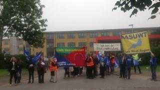 Staff on strike outside Winterbourne International Academy