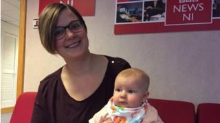 Liz Skelcher and her 11-week-old daughter Evie