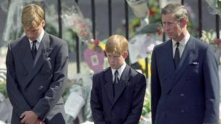 Уильям, Гарри и Чарльз на похоронах принцессы Дианы