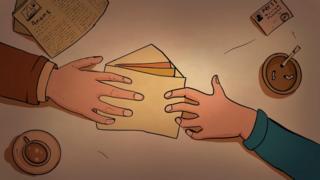 Рисунок - руки передают друг другу конверт