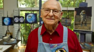 Apollo 12 Astronaut in his painting studio, Houston, Texas.