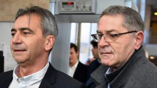 Pascal Fauret (right) and Bruno Odos arrive on 18 February, 2019 at the Assize Court of Aix-En-Provence