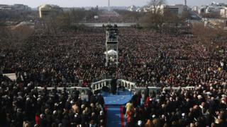 View of the crowd as Obama gives inaugural address in 2009