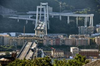 The Morandi bridge shortly after the collapse