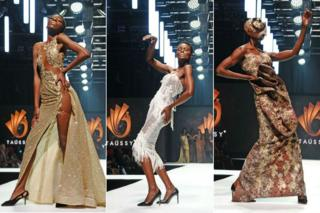 Three difference designs are showcased by model at the Taússy Daniel show during Johannesburg Fashion Week.