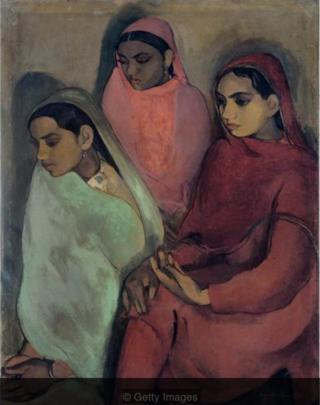 Three Girls karya Amrita Sher-Gil, 1935